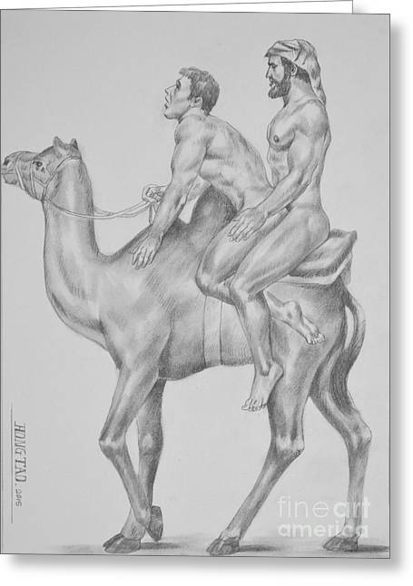 Original Charcoal Pencil Drawing Male Nude Gay Interest Man On Paper #7-1-2 Greeting Card by Hongtao     Huang