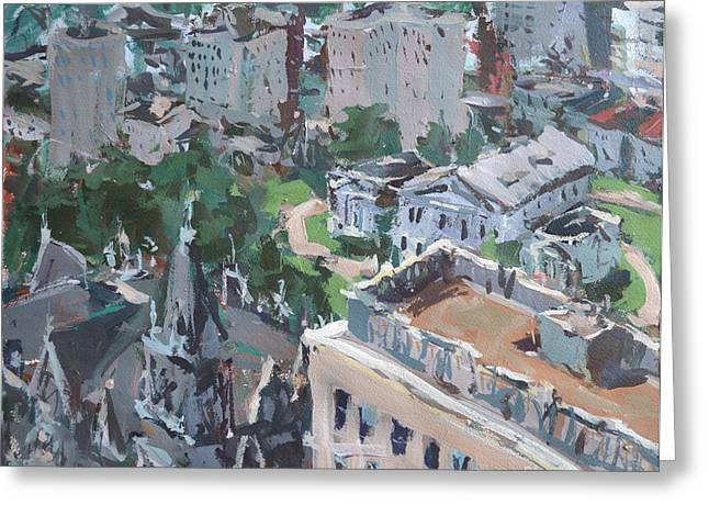 Greeting Card featuring the painting Original Contemporary Cityscape Painting Featuring Virginia State Capitol Building by Robert Joyner