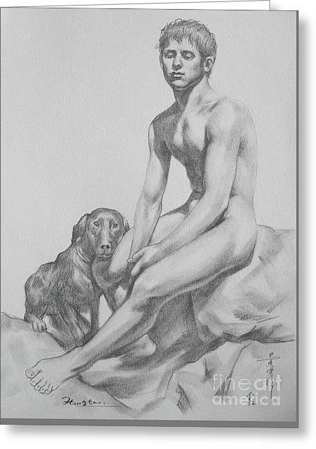 Original Drawing Boy And Dog On Paper #16-9-4 Greeting Card by Hongtao Huang
