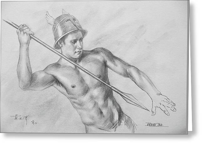 Original Drawing Charcoal  Male Nude Man On Paper#16-10-5-01 Greeting Card by Hongtao Huang