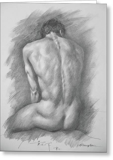 original Drawing male nude man #17325 Greeting Card
