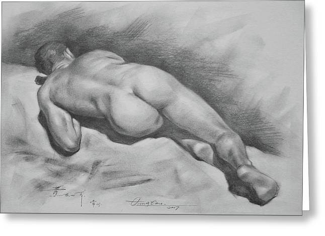 Original Drawing Male Nude#17316 Greeting Card by Hongtao Huang
