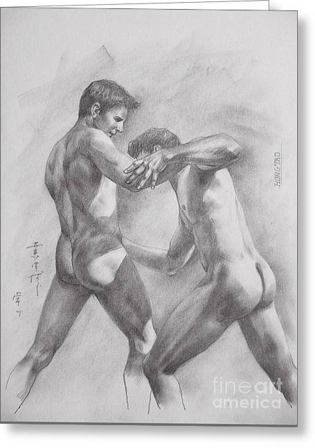 Original Drawing Sketch Art Male Nude Men Gay Interest Boy On Paper By Hongtao #11-17-05 Greeting Card by Hongtao     Huang