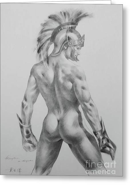 Original Drawing Sketch Charcoal Chalk Male Nude Gay Interst Man Art Pencil On Paper -0040 Greeting Card