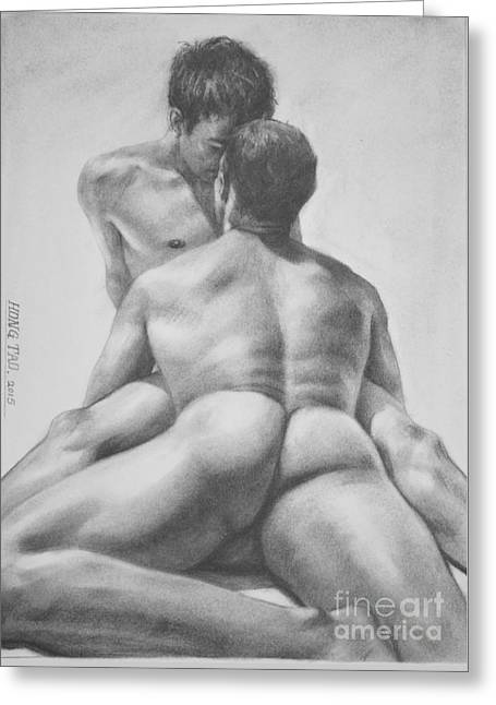 Original Drawing Sketch Charcoal Male Nude Gay Interest Man Art  Pencil On Paper -0028 Greeting Card