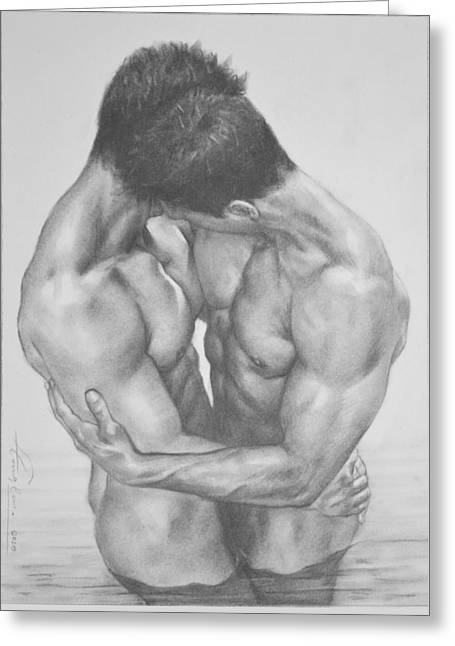 Original Drawing Sketch Charcoal  Male Nude Gay Interest Man Art Pencil On Paper -0041 Greeting Card