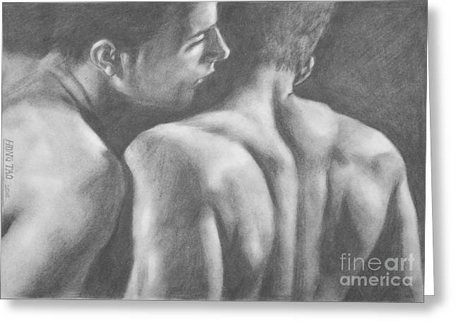 Original Drawing Sketch Charcoal Man Body  Male Nude Gay Interest Man Art Pencil On Paper -0029 Greeting Card