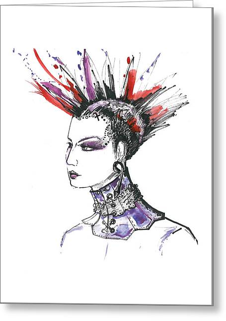 Punk Rock Girl  Greeting Card by Marian Voicu