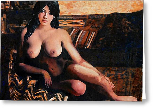 Greeting Card featuring the painting Original Female Nude Goddess Eirene II Seated by G Linsenmayer
