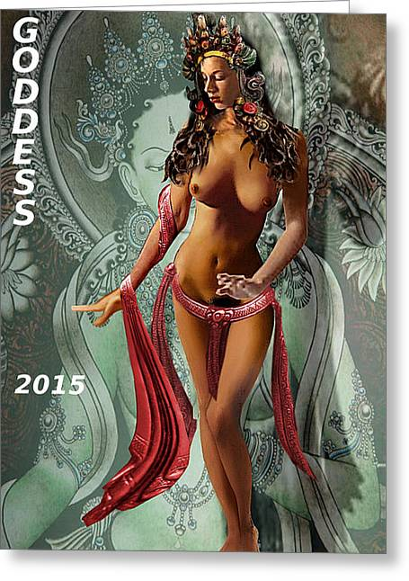 Greeting Card featuring the painting Original Female Nude Jean Goddess As Tara Dancing Poster by G Linsenmayer