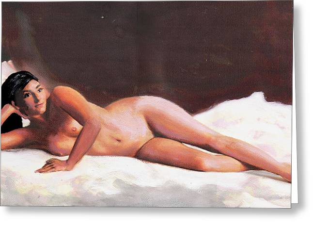 Original Fine Art Female Nude Reclining On White Greeting Card by G Linsenmayer