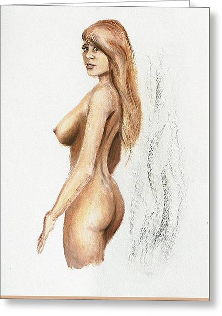 Greeting Card featuring the painting Original Fine Art Nude Jess Standing Oil Acrylic Sketch by G Linsenmayer