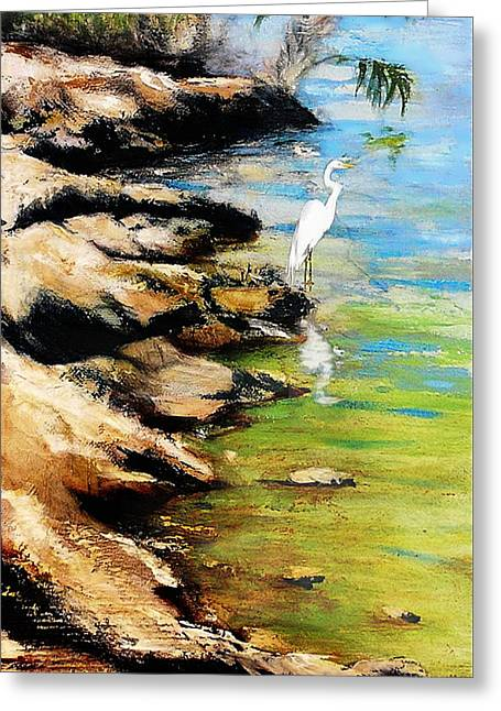 Greeting Card featuring the painting Original Fine Art Painting Pool Edge Gulf Coast Florida by G Linsenmayer