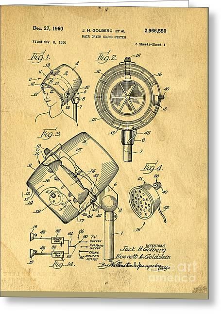 Original Hair Dryer Patent Greeting Card by Edward Fielding