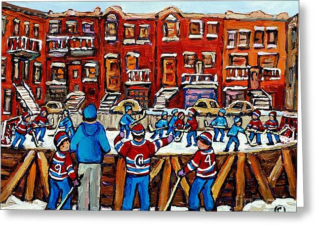 Original Hockey Art Paintings For Sale The Neighborhood Hockey Rink Canadian Winter Scenes Greeting Card by Carole Spandau