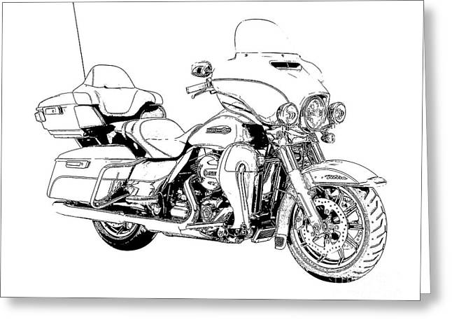 Original Motorcycle Portrait, Gift For Biker, Black And White Art Greeting Card by Pablo Franchi