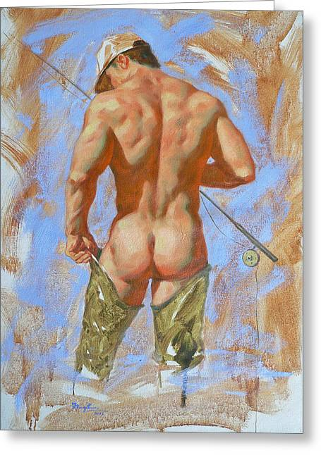 Original Oil Painting Art Male Nude Fisherman On Linen #16-2-20 Greeting Card