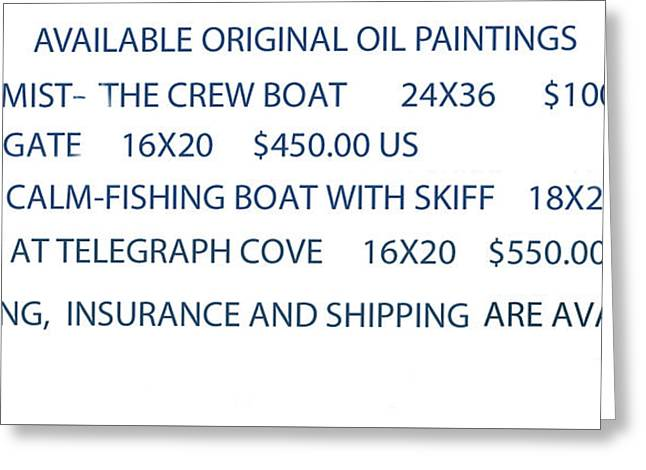 Greeting Card featuring the painting Original Oil Painting Availability List by Gary Giacomelli