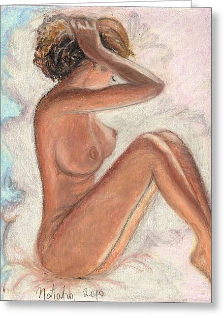 Graphite Pastels Greeting Cards - Original Oil Pastel Sexy Woman  Greeting Card by Natalia Krestianinova