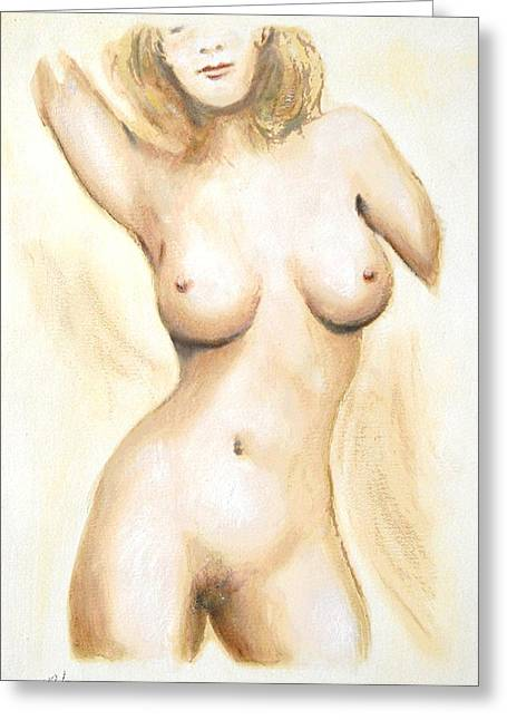 Original Painting Of A Nude Female Torso Greeting Card