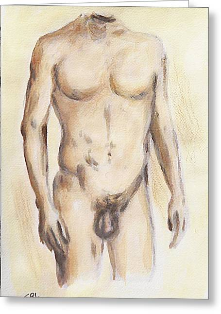 Original Painting Of A Nude Male Torso Greeting Card