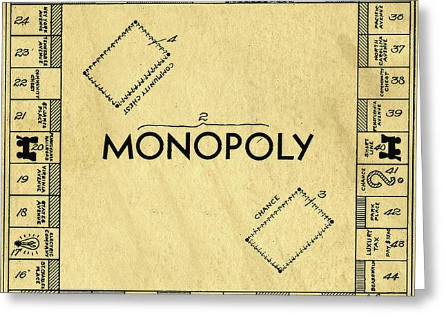 Original Patent For Monopoly Board Game Square Greeting Card