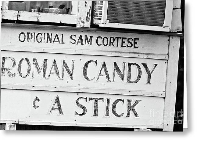 Original Roman Candy - Bw Greeting Card