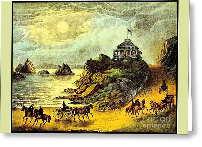 Original San Francisco Cliff House Circa 1865 Greeting Card by Peter Gumaer Ogden