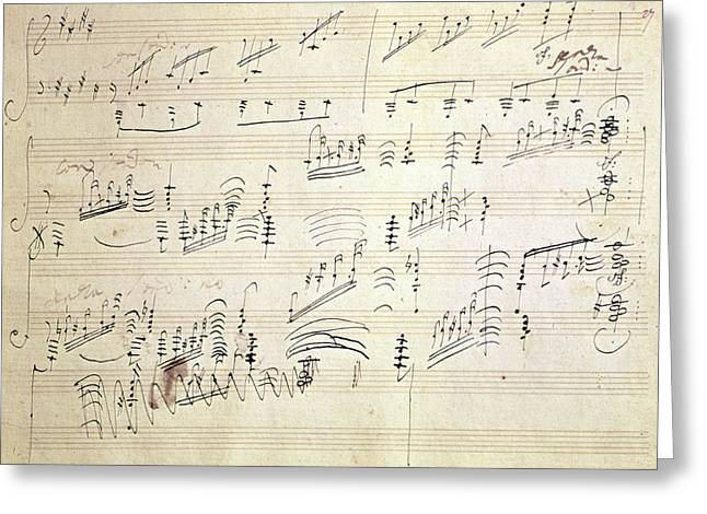 Original Score Of Beethoven's Moonlight Sonata Greeting Card
