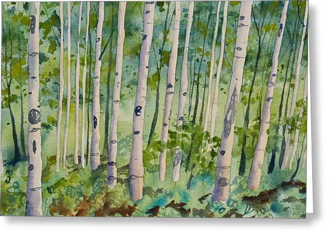 Greeting Card featuring the painting Original Watercolor - Summer Aspen Forest by Cascade Colors