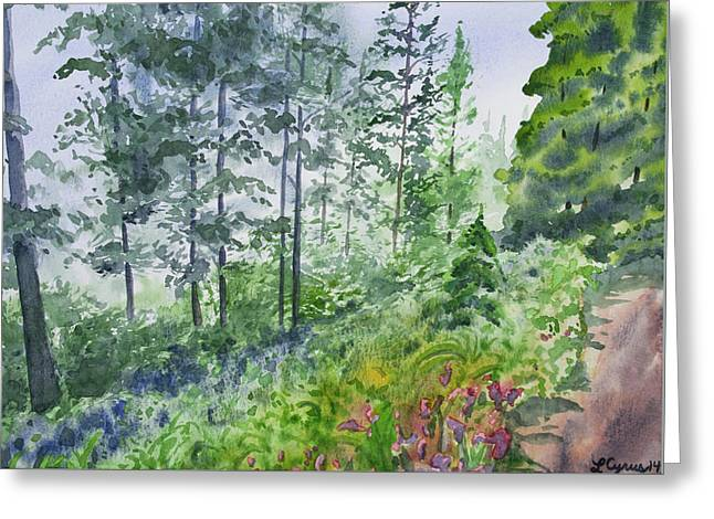 Greeting Card featuring the painting Original Watercolor - Summer Pine Forest by Cascade Colors