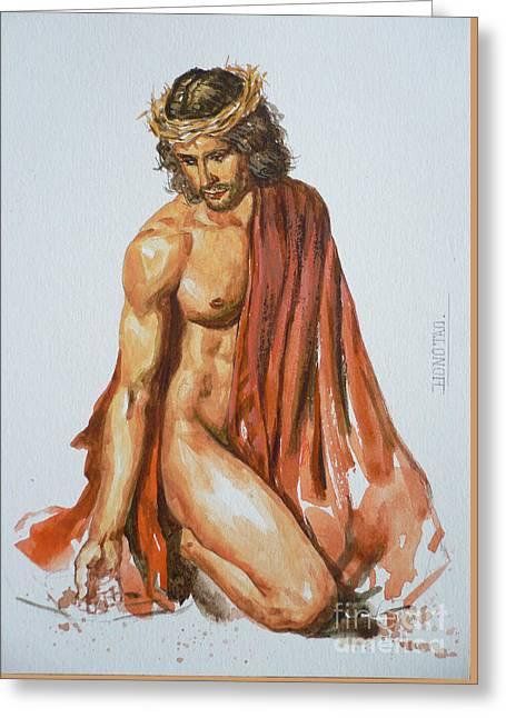 Original Watercolour Painting Art Jesus  On Paper #16-1-26-10 Greeting Card by Hongtao Huang