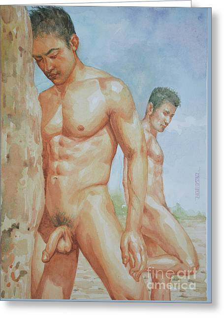 Original Watercolour Painting Art Young Men Male Nude Boys  On Paper #16-1-26-15 Greeting Card