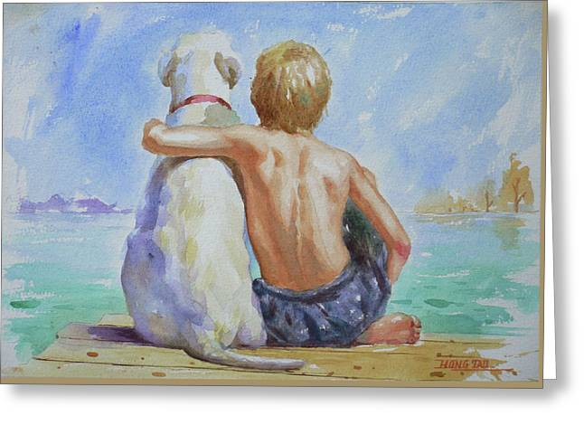 Original Watercolour Painting Nude Boy And Dog On Paper#16-11-18 Greeting Card