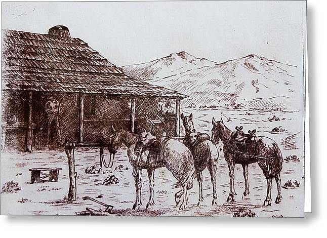 Original Western Artwork 5 Greeting Card by Smart Healthy Life