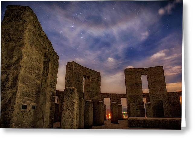Greeting Card featuring the photograph Orion Over Stonehenge Memorial by Cat Connor