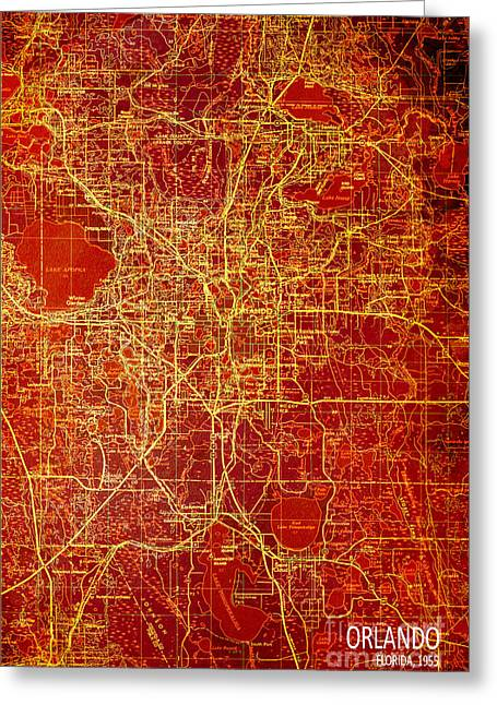 Orlando Antique Map Red And Yellow Greeting Card