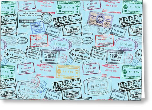 World Traveler Passport Stamp Pattern - Light Blue Greeting Card