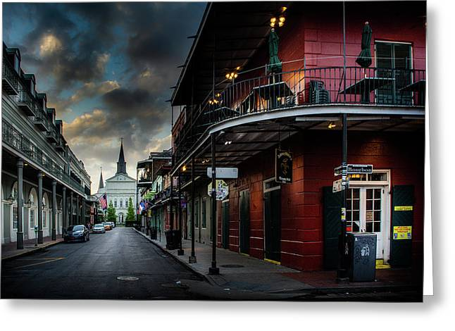 Orleans Street To St Louis Cathedral Greeting Card