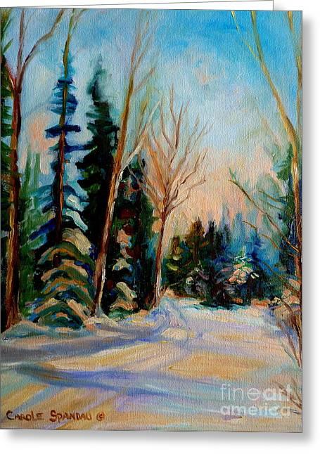 Ormstown Quebec Winter Road Greeting Card by Carole Spandau