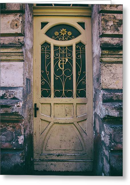 Ornamented Doors In Light Brown Color Greeting Card by Jaroslaw Blaminsky