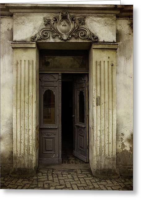 Ornamented Gate In Dark Brown Color Greeting Card