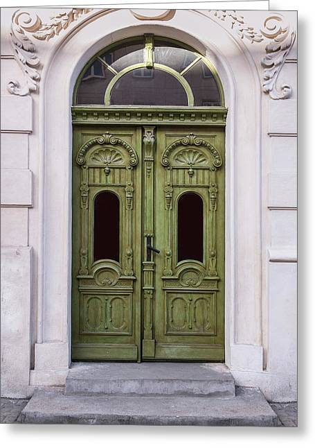 Ornamented Gates In Olive Colors Greeting Card by Jaroslaw Blaminsky