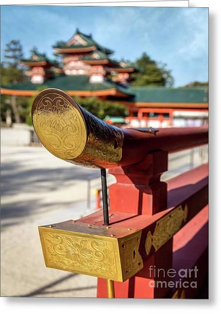 Ornate Details O Heian Jingu Shrine In Kyoto Greeting Card