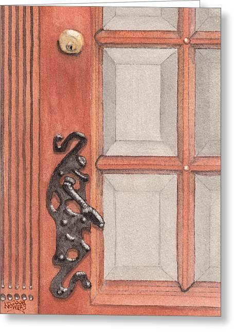 Ornate Door Handle Greeting Card by Ken Powers