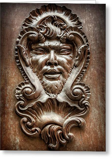 Ornate Door Knocker In Valencia  Greeting Card by Carol Japp