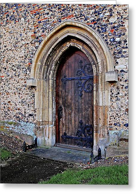 Ornate Hinges On Ancient Church Door Greeting Card by Gill Billington