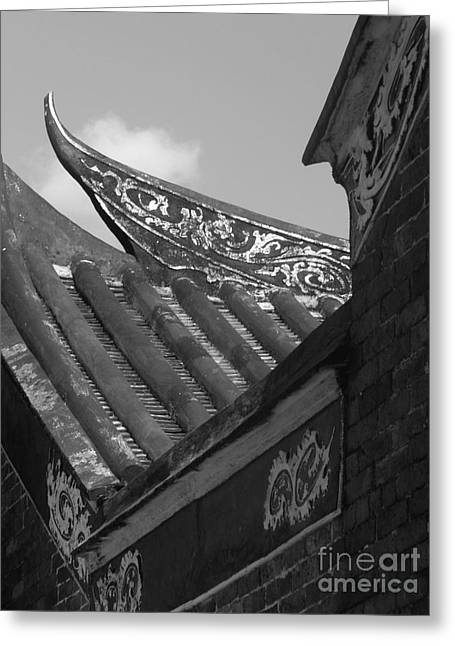 ornate Roof Chinese Temple old Greeting Card