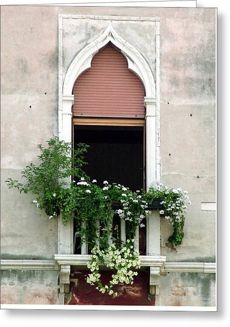 Greeting Card featuring the photograph Ornate Window With Red Shutters by Donna Corless