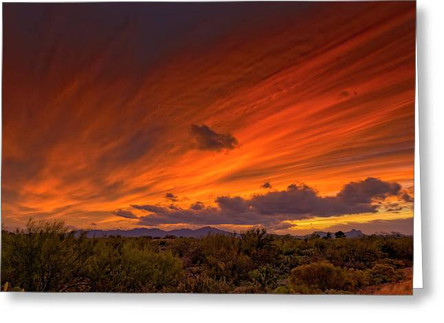 Greeting Card featuring the photograph Oro Valley Sunset H6 by Mark Myhaver